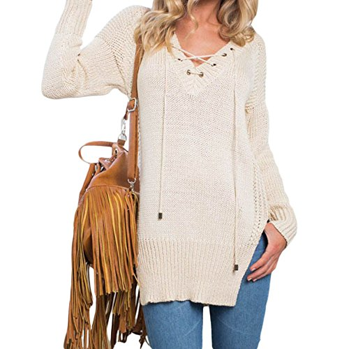 SEBOWEL Women Side Split V Neck Lace Up Loose Pullover Sweater Jumper Top White