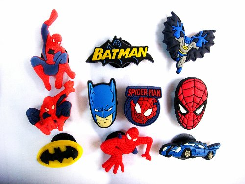 10 Spiderman & Batman Shoe Charms for Croc Jibbitz Wristband Bracelet