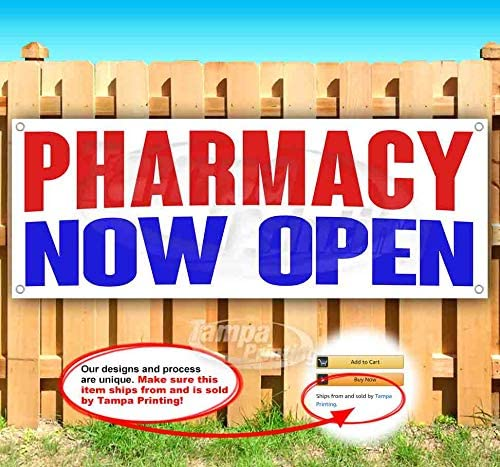 Many Sizes Available New Flag, Pharmacy Now Open 13 oz Heavy Duty Vinyl Banner Sign with Metal Grommets Store Advertising