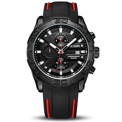 MEGIR Men's Analogue Sport Quartz Wrist Watches with Soft Silicone Black Strap Chronograph Luminous Auto Calendar Waterproof Function (2055 Black)
