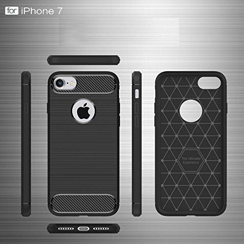 """MOONCASE iPhone 7 Hülle, Karbon Elastisch Fallschutz Anti-Scratch Rugged Armor Defender Case Tasche Schutzhülle für iPhone 7 4.7"""" Schwarz"""