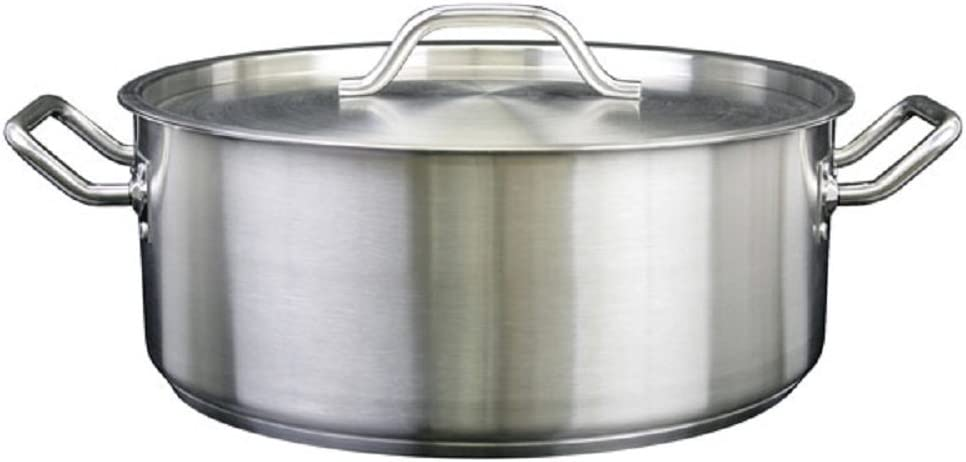 Thunder Group SLSBP015, 15 Quart Stainless Steel Brazier with Cover, Commercial Braising Pan with Lid, Professional Braiser