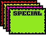 "3.5"" x 5.5"" Special Rectangular Fluorescent Burst Neon Sign Cards - Multi-Pack - 100 Total Cards"