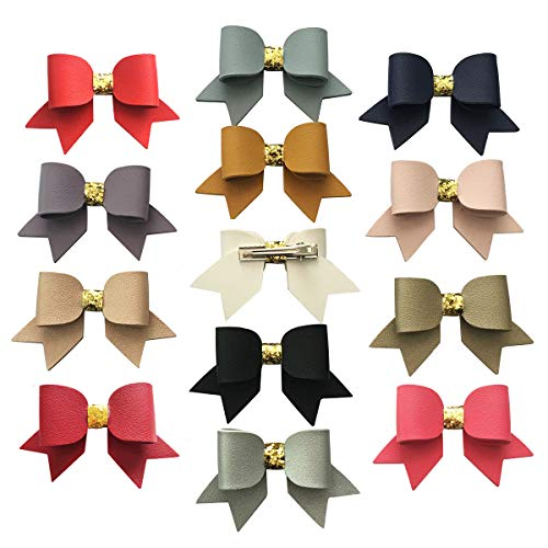 Feather Faux Leather Hair Bow L033