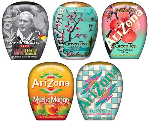 AriZona Liquid Water Enhancer LWE Assorted Mix (Pack of 5) Arnold Palmer, Green Tea w/Honey, Mucho Mango, Green Tea w Pomegranate, Lemon Iced Tea Lee