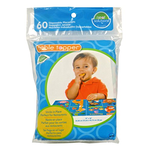 Neat Solutions Neat-Wear Table Topper Disposable Stick –on Placemats in Reusable Package for Babies and Kids, On-The-Go Protection from Germs, Gender Neutral Design Teaches Numbers, Words, and Charact