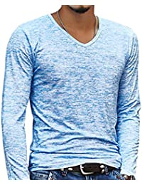 Men Soft Fitted Tee Shirt Jersey Underwear Long Sleeve V Neck
