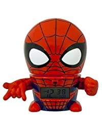 BulbBotz Marvel 2021425 Spider Man Kids Night Light Alarm Clock with Characterised Sound | red/blue | plastic | 5.5 inches tall | LCD display | boy girl | official