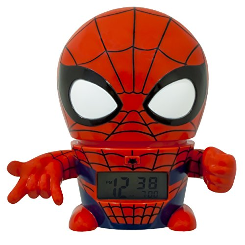 BulbBotz Marvel Spider Man Kids Night Light Alarm Clock with Characterized Sound | red/blue | plastic | 5.5 inches tall | LCD display | boy girl | official