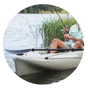 alfombrilla de ratón Hombre de la pesca en kayak en aguas cubiertas de hierba - ronda - 20cm