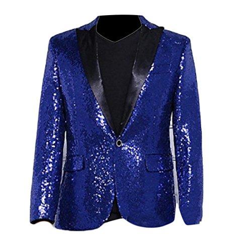 ColourfulMen Colourful Mens Sweatshirt Shiny 1 Button Club Sequin Party Business Suit Blue S