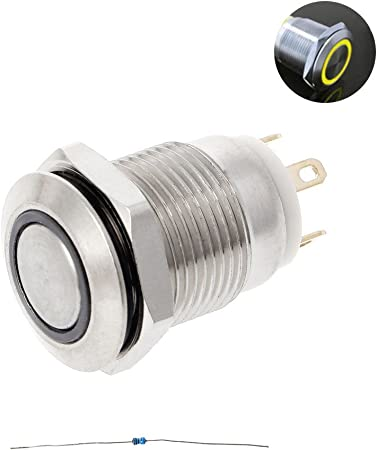 Waterproof 12mm Boat LED IP67 12V Momentary Metal Switch Push Horn Button