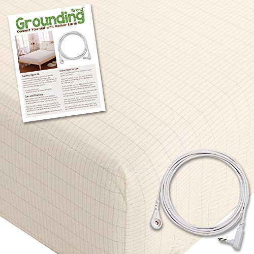 Grounding Brand Fitted King Size Sheet with Earth Connection Cable, 400TC Conductive Mat with Pure Silver Thread for Better Sleep and Healthy Earth Energy, Natural Tan (Earthing Rod)