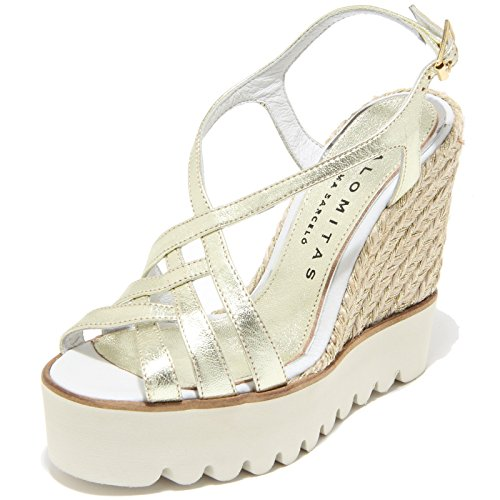 Donna Sandali Scarpe Metal Crispado Women Shoes Palomitas Sandals Zeppe 8584i nero Oro qZxUwcnWFO