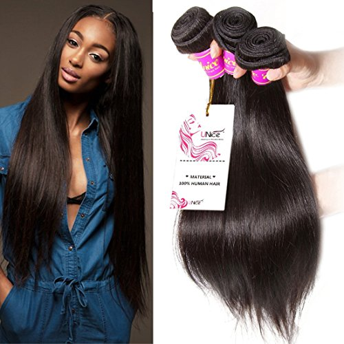Unice Hair 7a Brazilian Straight Hair 3 Bundles Mixed of 18inch 20inch 22inch Natural Black Color Virgin Brazilian Straight Weave Human Hair Extensions by UNICE