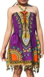 Raan Pah Muang Girls Summer Elastic Halter Bright Dashiki Dress with Afrikan Tassels, 1-3 Years, Pueple