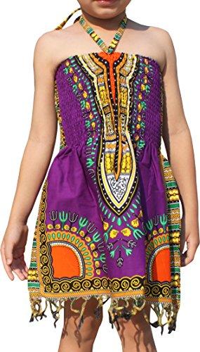 Raan Pah Muang Girls Summer Elastic Halter Bright Dashiki Dress with Afrikan Tassels, 3-6 Years, Purple by Raan Pah Muang