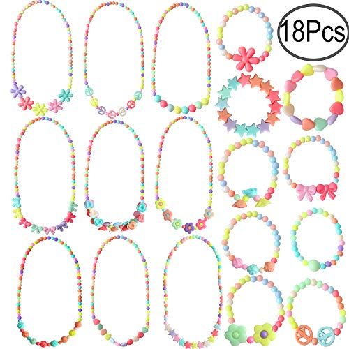 Hicdaw 18PCS Toddler Costume Jewelry Princess Necklace Bracelet Kit Gift for Girls Dress Up Pretend Play Party Favors]()