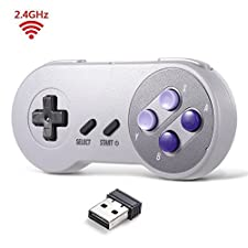 2.4 GHz Wireless USB Controller Compatible with Super Famicom Games, iNNEXT SNES Retro USB PC Super Classic Controller Joypad Joystick for Windows PC MAC Linux Raspberry Pi 3 Sega Genesis Higan