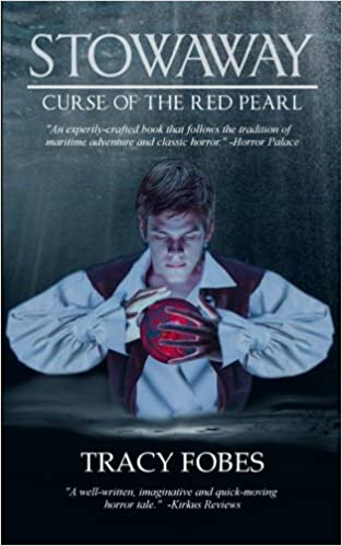 Stowing away on his uncle's ship, Kit and the crew struggle against an unknown horror in this tale of dark adventure on the high seas. <em>Stowaway: Curse of the Red Pearl</em> by Tracy Fobes