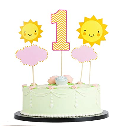 Lveud1 Year Old Girl Boy Happy Birthday Cake Topper Birthday Party Cake Ornament Yellow Sun And Clouds 1 Cake Topper For First Birthday Party