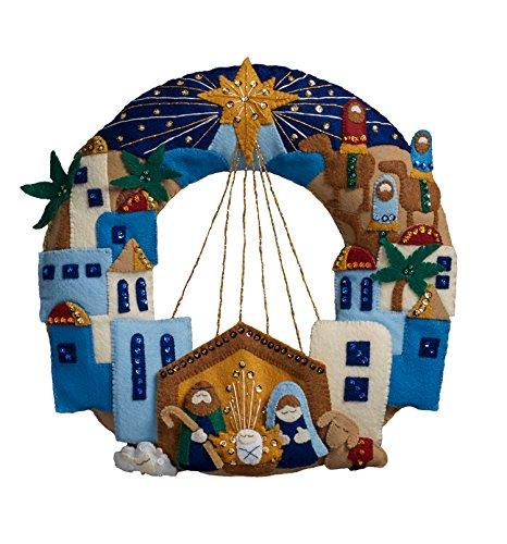 Bucilla 86734 Felt Applique Wreath Town of Bethlehem, Size 13 x 12.5-Inch from Bucilla