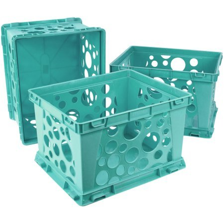 Indoor Large File Crate Storage, Teal ( 3 PACK )