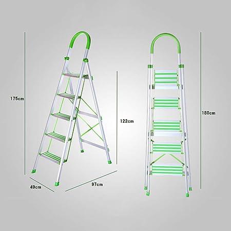 Yang baby Escalera Plegable de Aluminio Escalera de Aluminio Espiga Plegable Pedal Ancho de Aluminio Inicio Escalera de Escalera Escalera Plegable Taburete de Paso (Size : 175 * 97 * 49cm): Amazon.es: Hogar