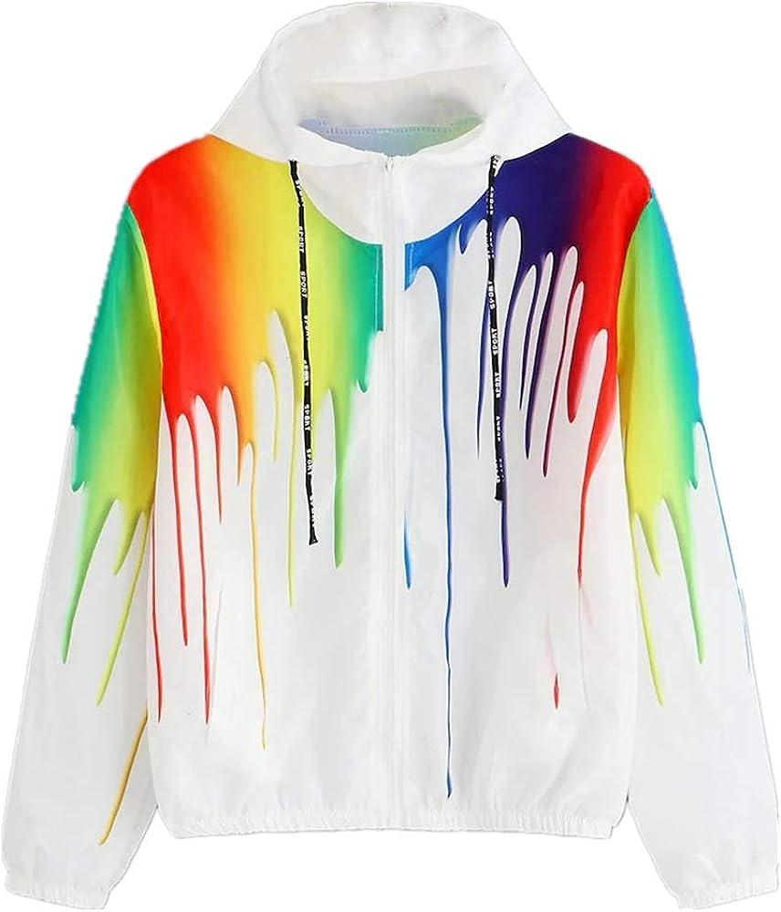 Chanyuhui Women Stylish Colorful Jacket Tops Long Sleeve Zipper Pockets Hoodies Casual Sport Sweatshirt Coat Outwear