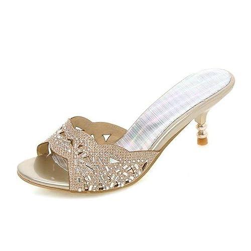 53e1974101d8 OLIVIA K Women s Open Toe Strappy Rhinestone Dress Sandal Low Heel Wedding  Shoes  Amazon.ca  Shoes   Handbags