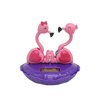 isilky Solar Dancing Toys, Solar Powered Swinging Love Flamingo Shape Dancer Toy Solar Car Dashboard Home Decoration Christmas for Families Lovers Friends: Home & Kitchen