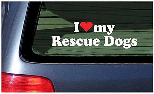 Rescue White Heart Window Sticker