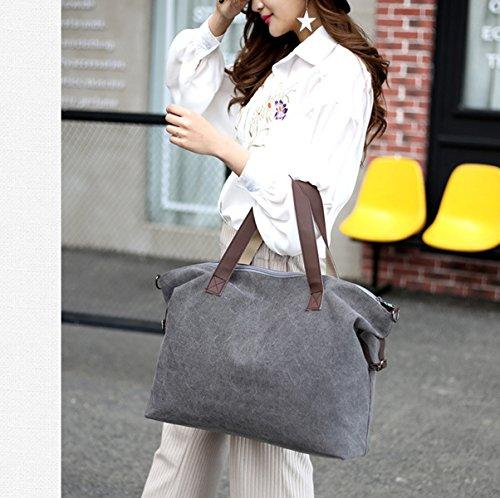 Mujer Europa Y Los Estados Unidos Nuevo Moda Lona transpirable Bolsos De Hombro Paquete De Xiekua Temperamento Capacidad Grande Bolso Práctico White