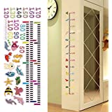 Height Measurement Growth Chart Cartoon Sea Animals Wall Sticker Vinly Decal Decor for Nursery Playroom Girls and Boys Children's Bedroom