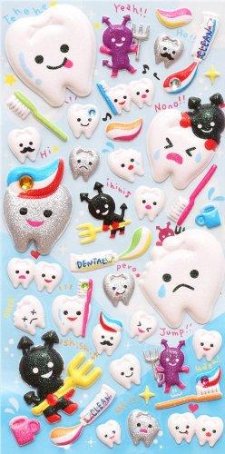 Pegatinas esponjosas brillante kawaii diente cepillo dientes: Amazon.es: Juguetes y juegos