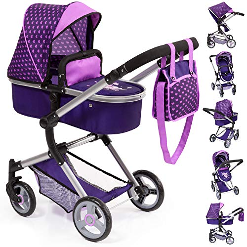 Bayer Design 18476AA Stroller, Doll Combi Pram Neo Vario with Changing Bag and Underneath Shopping Basket, Foldable, Swivel Front Wheels, Purple Pink with Fairy and Hearts ()