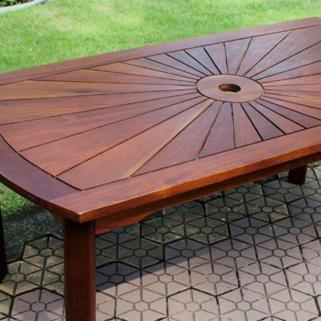Gorgeous Acacia Sunburst Patio Garden Coffee Table, Durable and Long Lasting Acacia Hardwood Construction, Sunrise Motif, Umbrella Holder, UV Protectant Coat, Dual Stain Natural (Dual Display Bench)