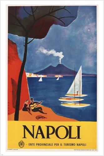 HSE vintage NAPLES travel POSTER Mario Puppo Italy 1960 Beau