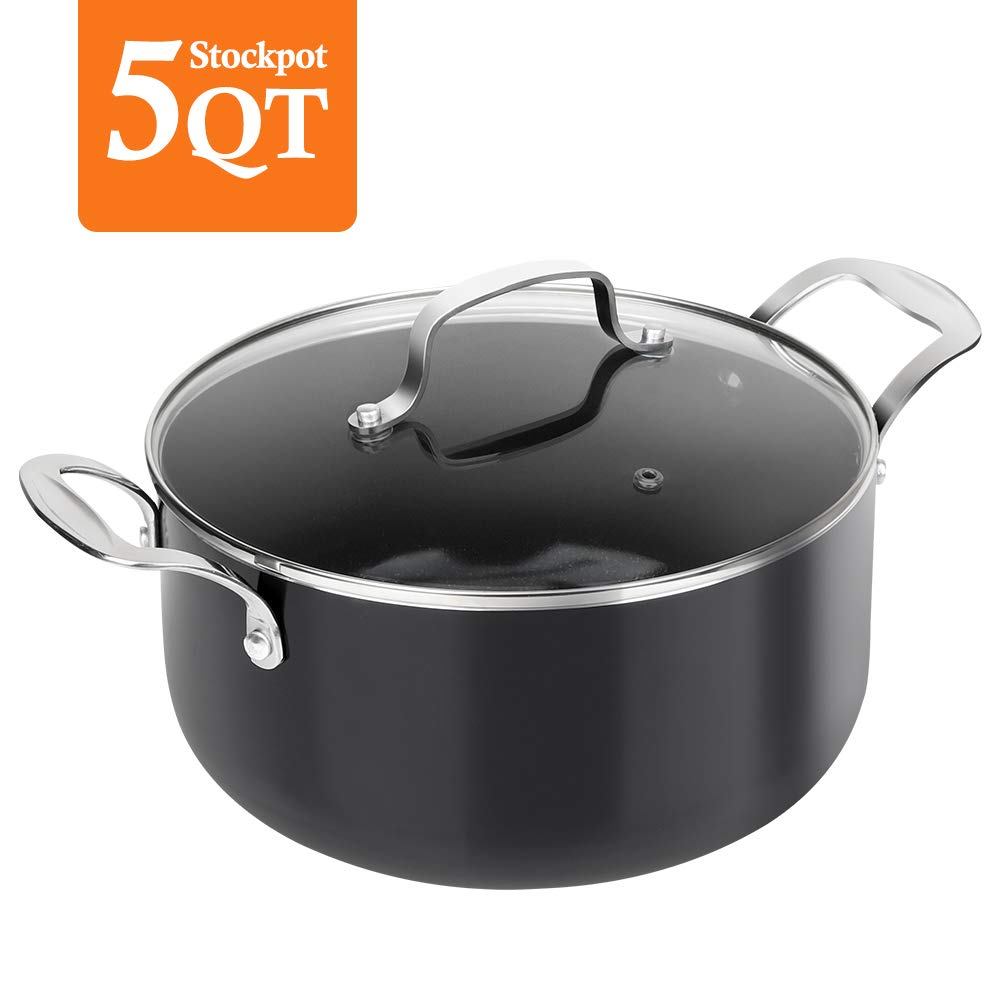 SHINEURI 5 Quart Nonstick Stockpot with Lid, Black Deep Stock Pot Perfect for Soup, Stew, Roast, Pasta, Chili & Sauce, Suitable for 4 Person Meal - CompatibleforInduction, Gas,Electric&Stovetops