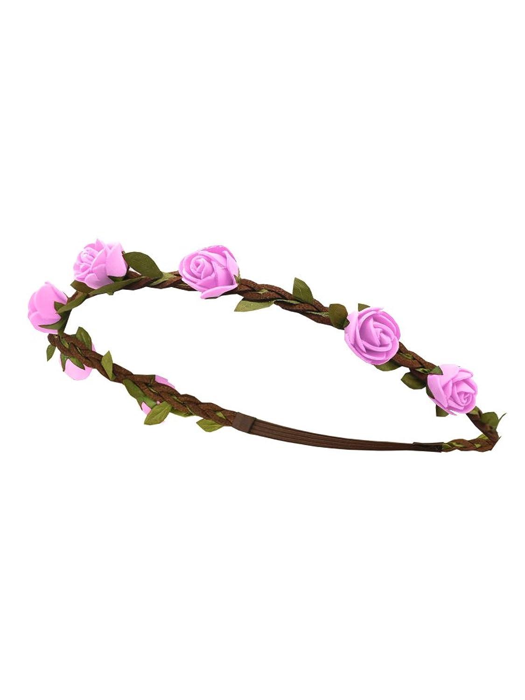 Trachten - Rosen Haarband geflochten braun / rosa