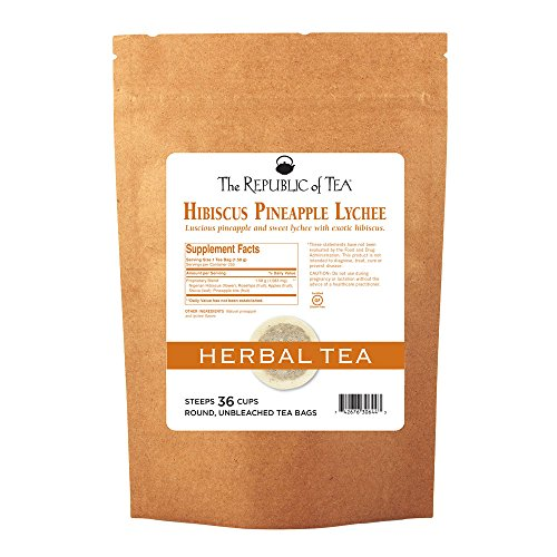 The Republic Of Tea Pineapple Lychee Hibiscus Tea, Caffeine-Free Premium Herbal Blend, 36 Tea Bag Refill Pineapple Treat