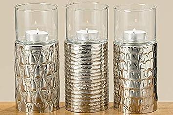 Bhc windlicht er set modern silver kerzenständer silber glas