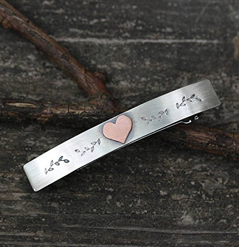 Sterling Silver Barrette with copper heart MEDIUM by Lisa's Lovelies