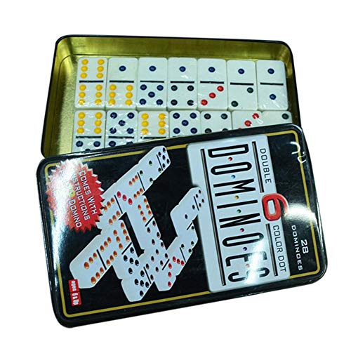 BTLIFE Dominoes Set Mexican Train Dominoes Domino Game Tenons Double 28 Dominos Tin Box Package for Home Family Traveling