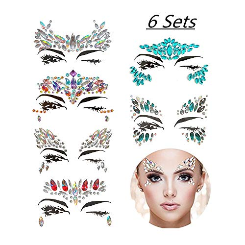 6 Sets Face Gems Rhinestone Mermaid Face Jewels Tattoo - Face Crystal Stickers Tears Gem Stones Bindi Temporary Stickers