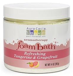 Aura Cacia Aromatherapy Foam Bath, Refreshing Tangerine and Grapefruit, 14 ounce jar (Pack of 2)