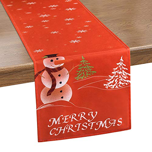 Smurfs Yingda Merry Christmas Table Runner Snowman Snowflake Table Runners Xmas Tree Waterproof Table Runner for Xmas Decoration, Dinner Parties, Gift, 14 x 70 inches (Runner Designer Table)