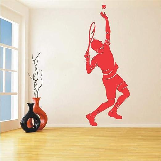 Jugador de tenis silueta etiqueta de la pared deporte serie hombre ...
