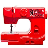 Janome 001Blush Bandana Blush Basic, Easy-to-Use, 10-Stitch Portable, Compact Sewing Machine with Free Arm Only 5 Pounds, Red