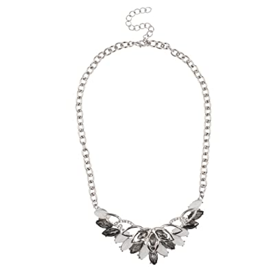 Lux Accessories White Stone Crystal Bride Bridal Statement Necklace Bridesmaid